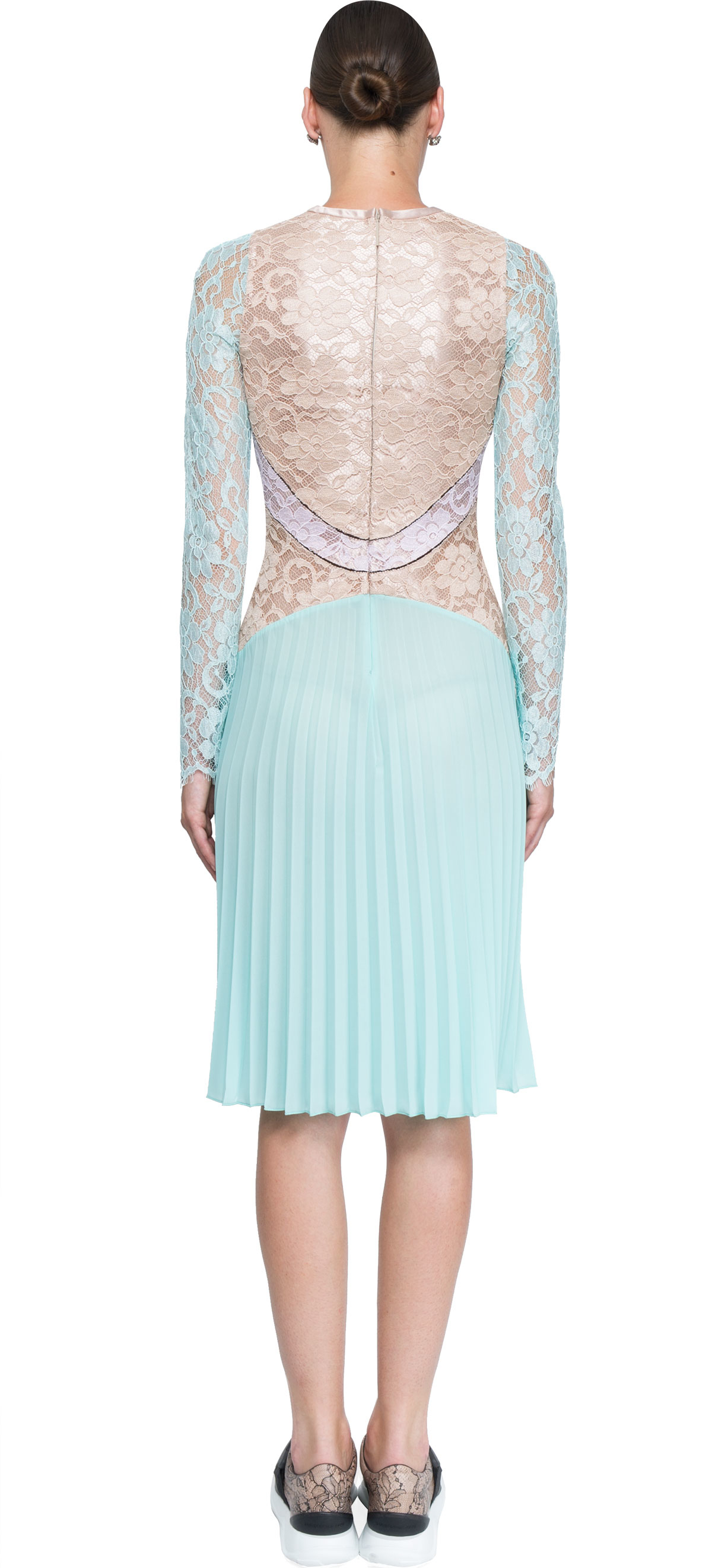 christopher lace dress with pleated skirt in metallic