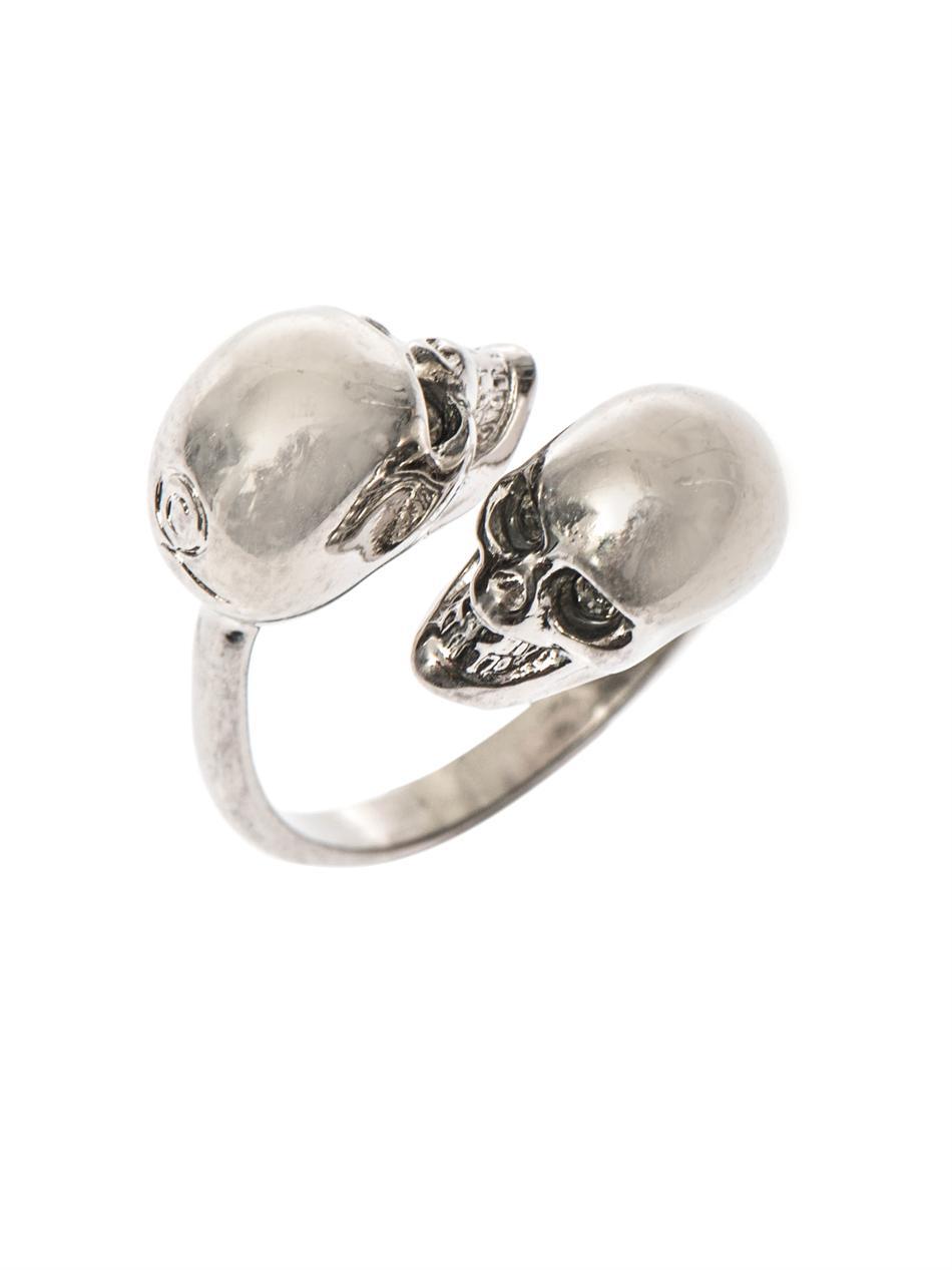 Skull double ring - Metallic Alexander McQueen tLeKjvOJUW
