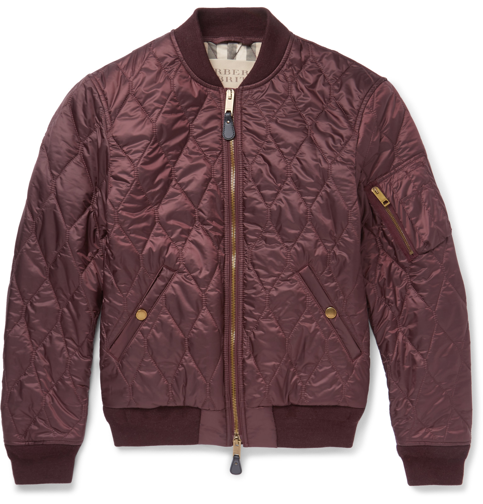 Burberry Brit Quilted Shell Bomber Jacket In Burgundy