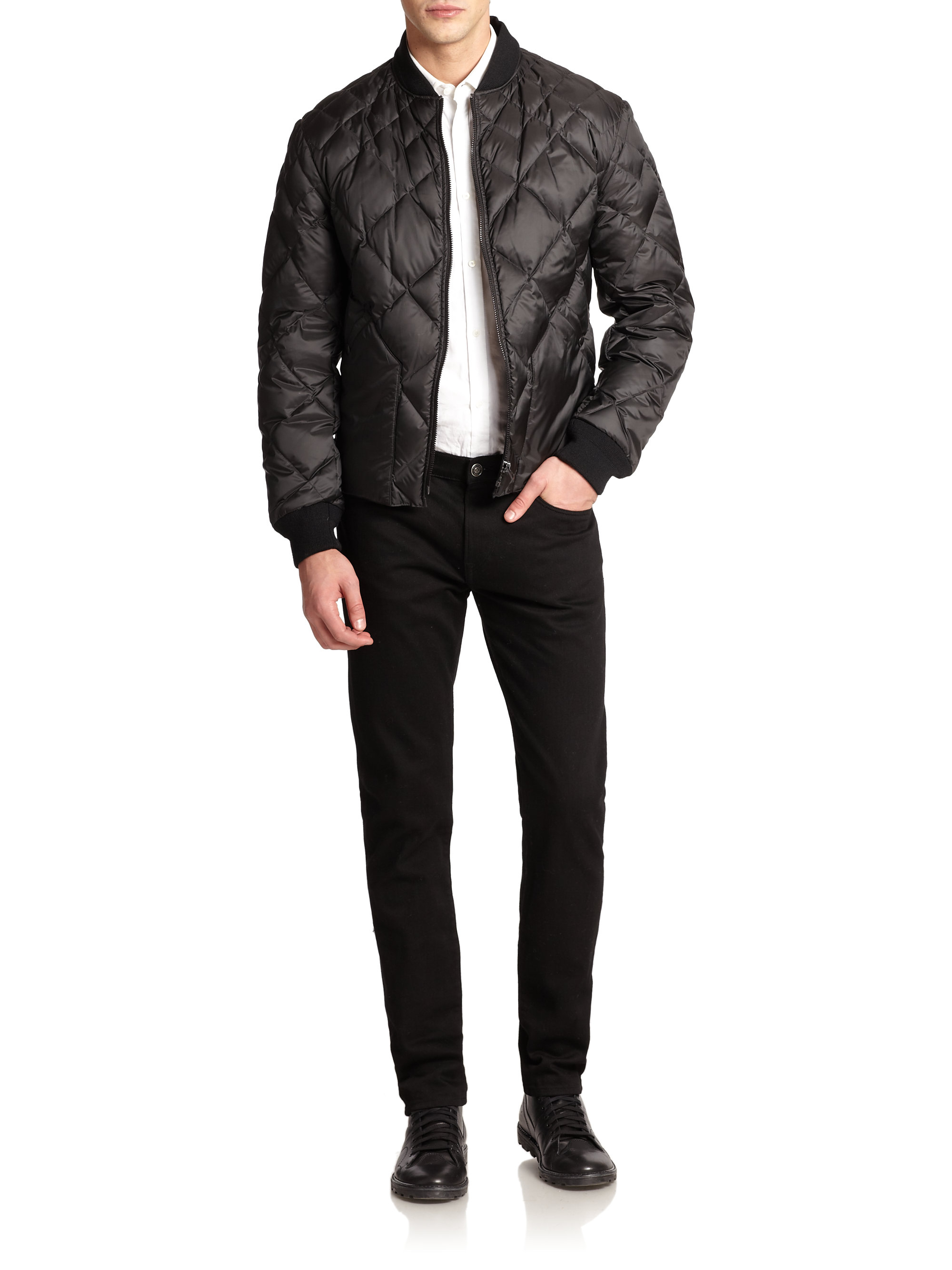 Burberry Brit Bollington Quilted Bomber Jacket In Black
