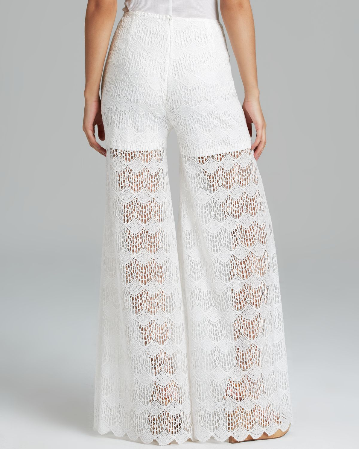 Guess Pants Wide Leg Lace in White | Lyst