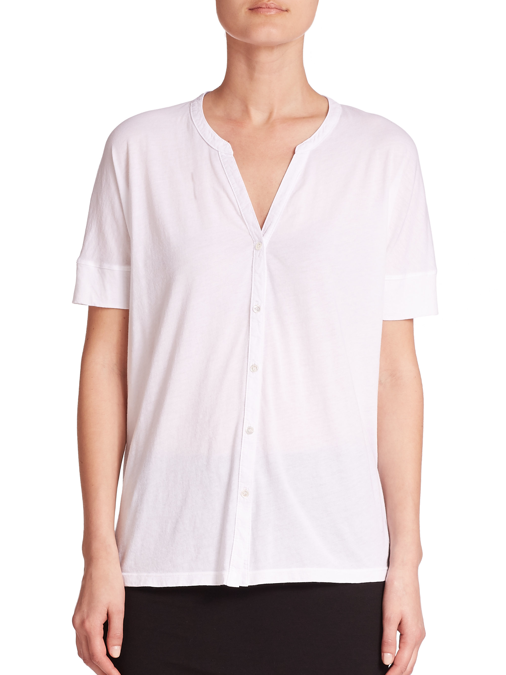 Lyst Three Dots Cotton Button Front Tee In White