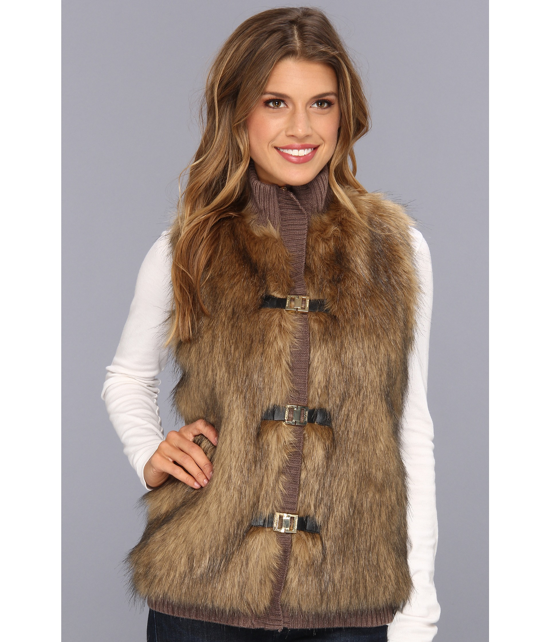 Calvin klein Faux Fur Acrylic Sweater Vest in Brown | Lyst