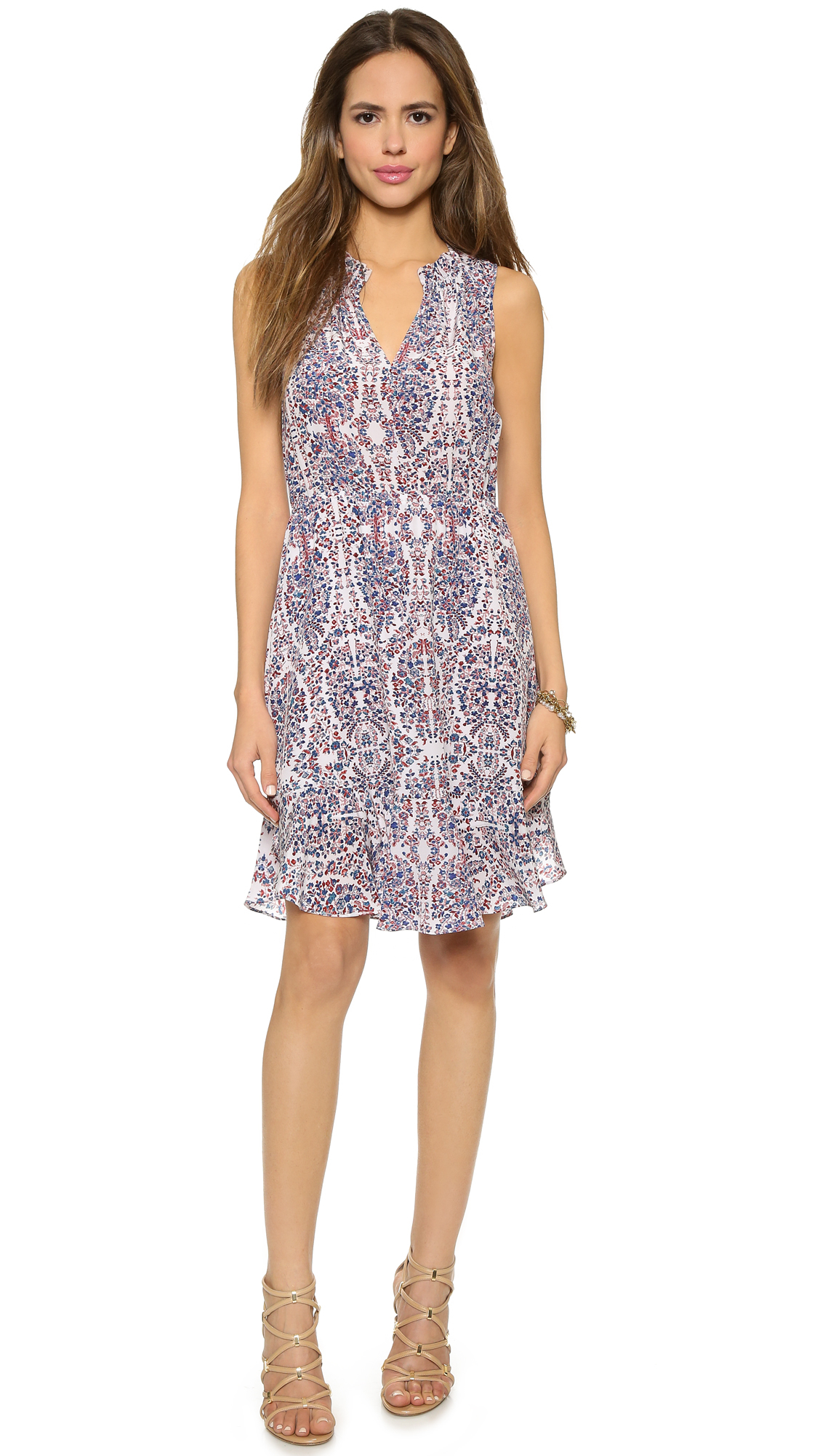Rebecca taylor paisley ruffle dress admiral combo in blue lyst gallery ombrellifo Gallery