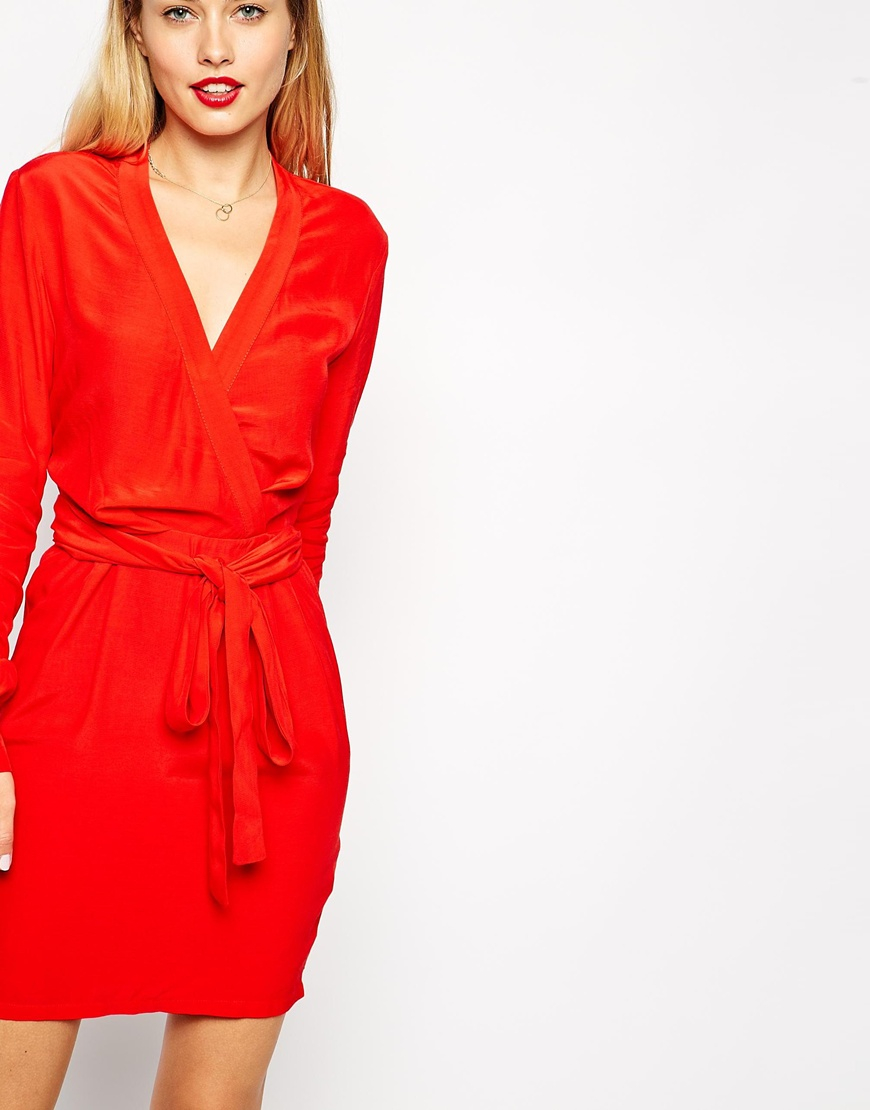 Asos Wrap Dress With Tulip Skirt And Long Sleeves in Red | Lyst