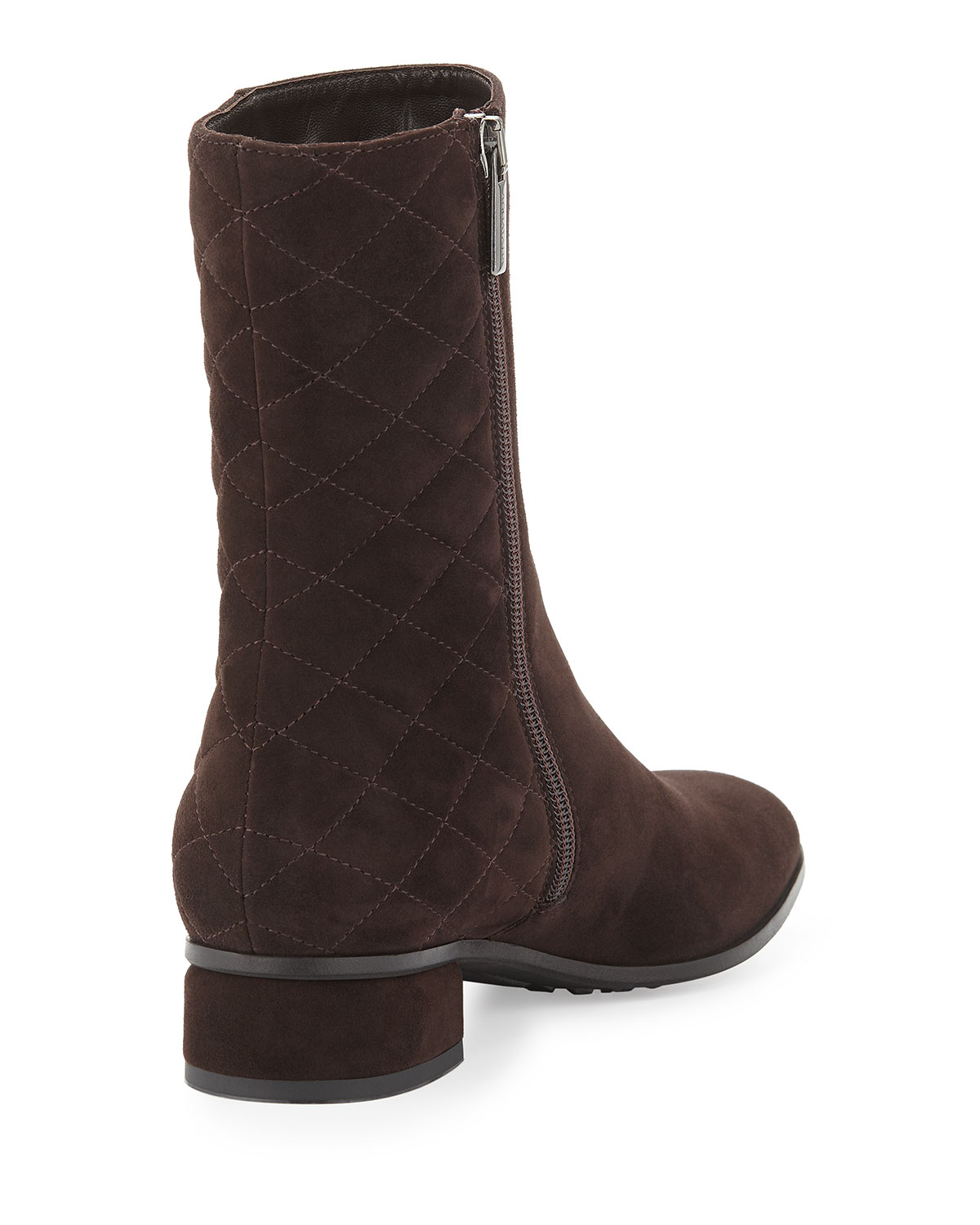 aquatalia lillie quilted suede boot in brown lyst