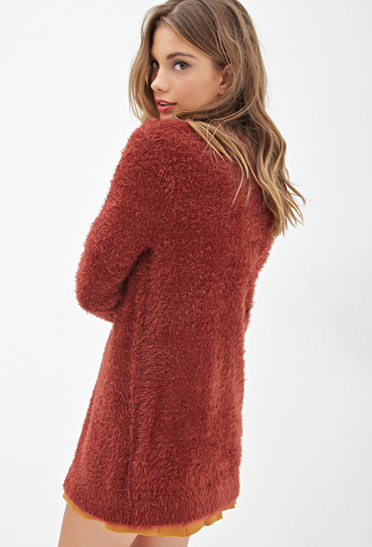 Forever 21 Button-down Fuzzy Cardigan in Brown | Lyst