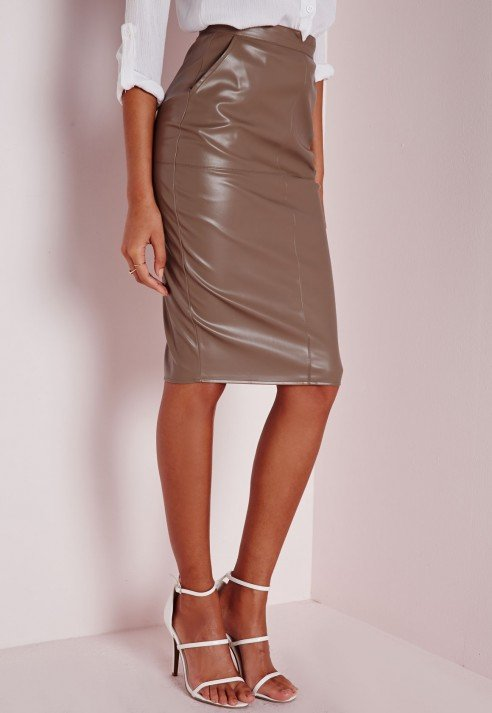 Missguided Tall Back Split Faux Leather Midi Skirt Taupe in Brown ...