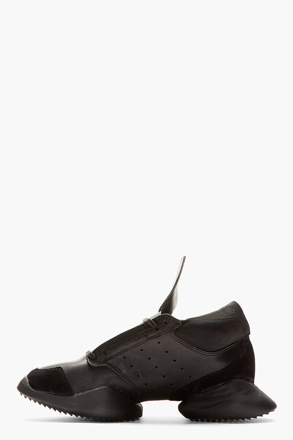 great fit ea21a 6e600 Lyst - Rick Owens Black Leather Island Sole Adidas Edition Sneakers ...