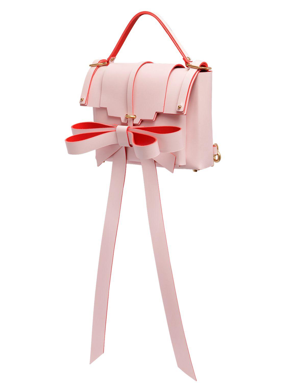 Niels Peeraer Big Ribbon Medium Leather Backpack in Pink (Red)