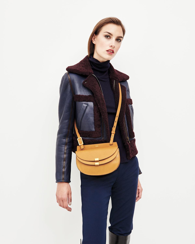 Lyst - Chloé Georgia Mini Leather Crossbody Bag in Yellow 248187d66c