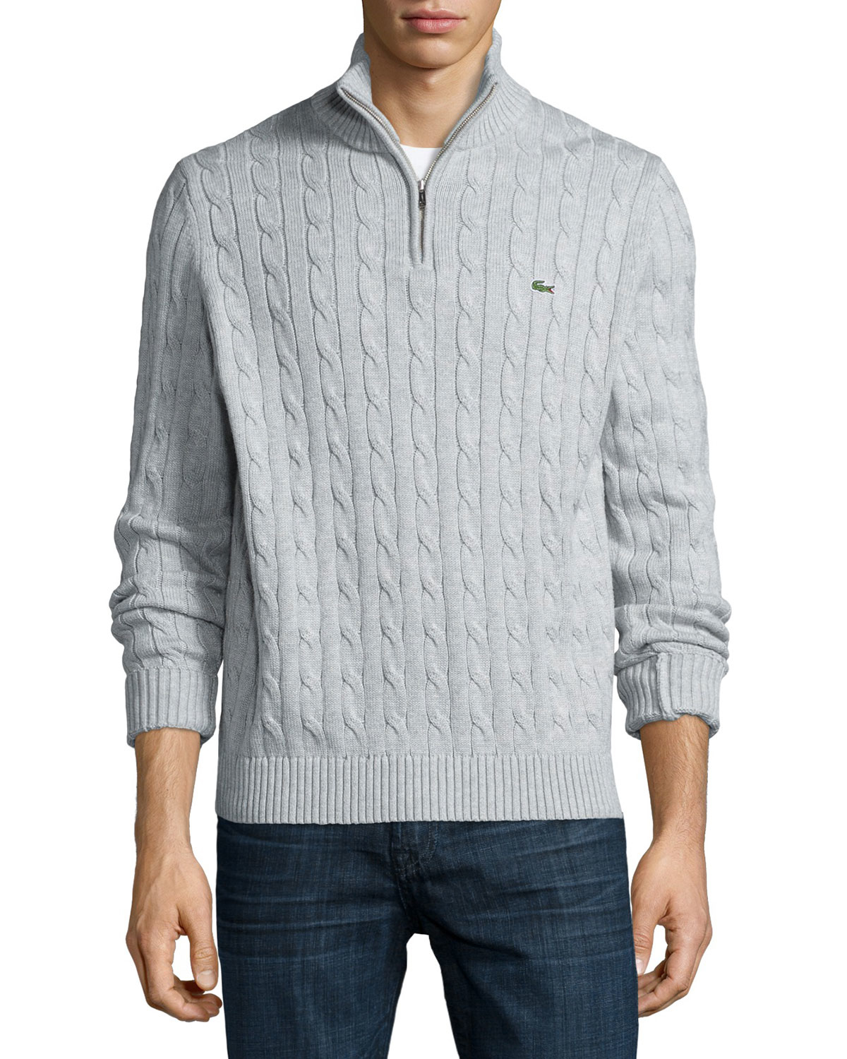 Knitting Patterns For Mens Half Sweaters : Lacoste Cable-knit Half-zip Knit Sweater in Gray for Men ...