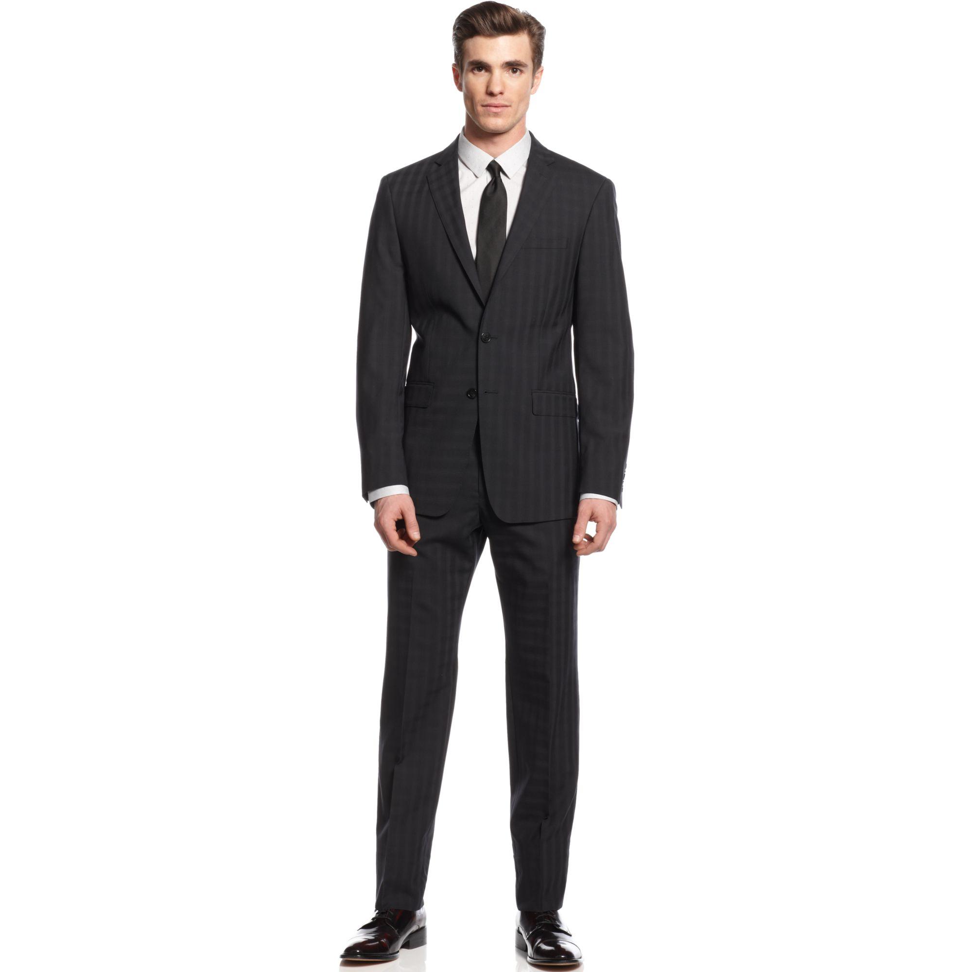 Calvin Klein Black Check Slim X Fit Suit In Black For Men