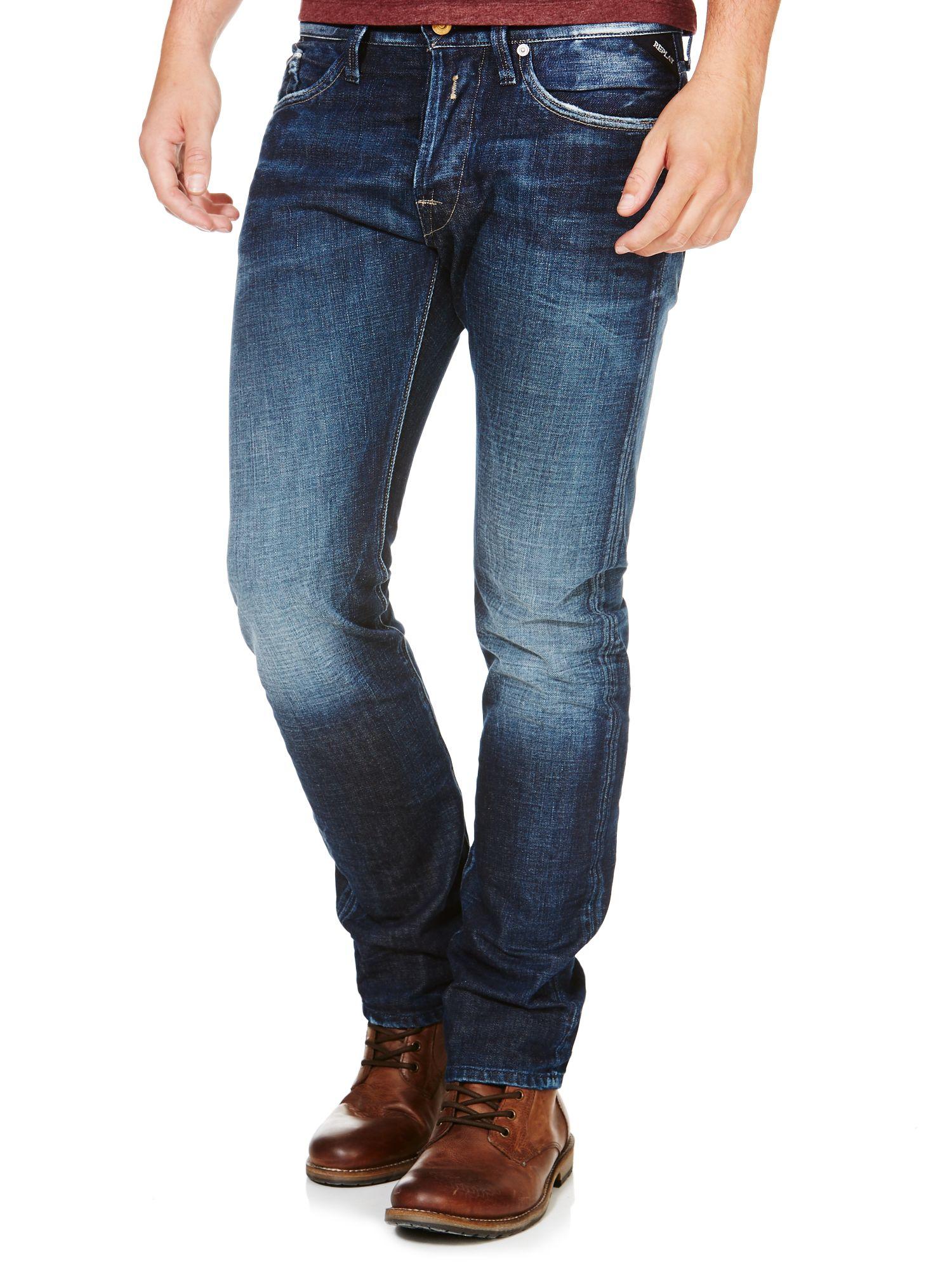 lyst replay waitom regular slim fit denim jeans in blue for men. Black Bedroom Furniture Sets. Home Design Ideas