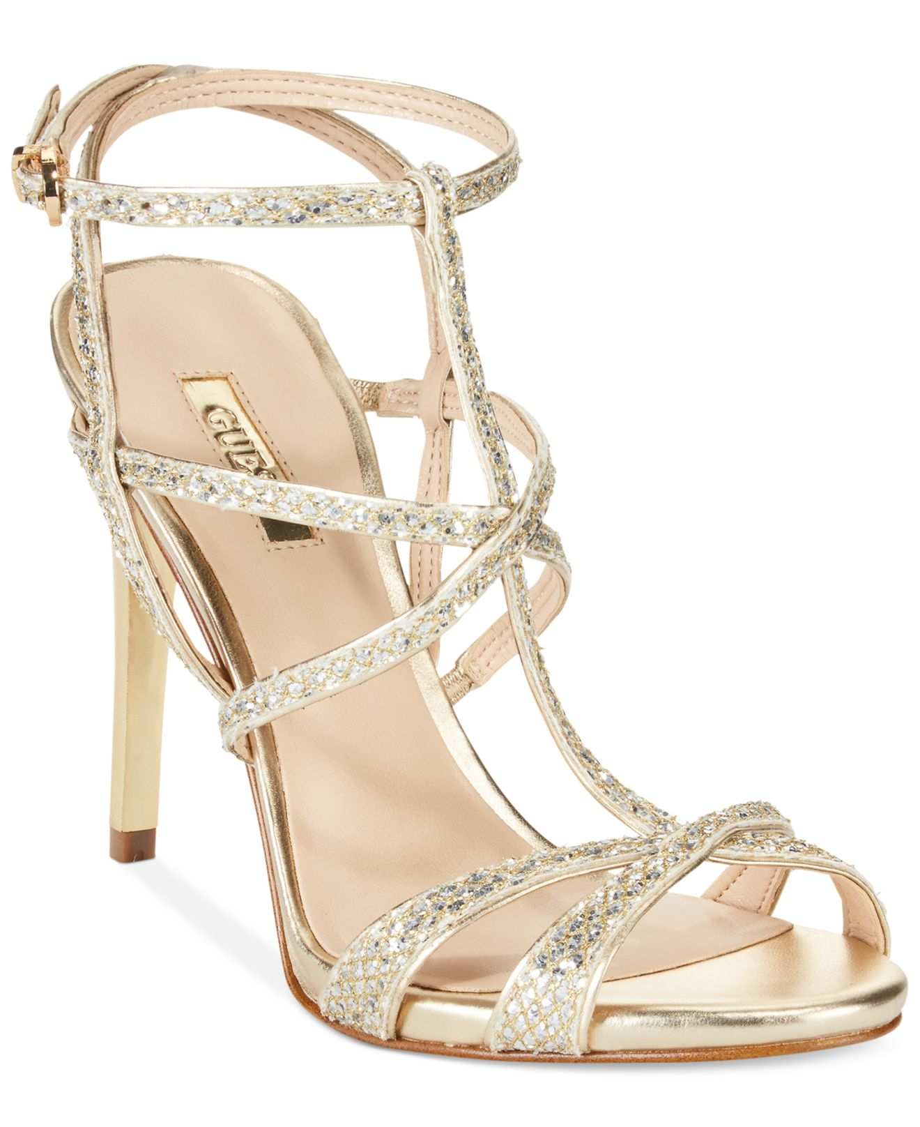 Gold Glitter Strappy Heels