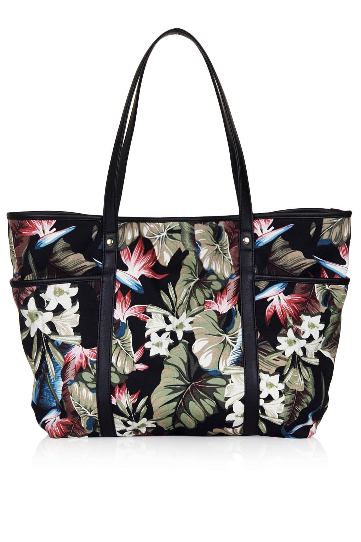 TOPSHOP Floral Printed Tote Bag in Black