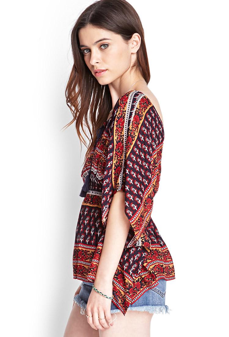 Lyst - Forever 21 Floral Print Kimono Top