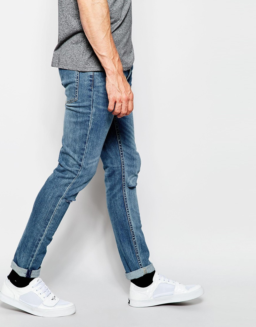 Cheap monday Jeans Tight Skinny Fit Dark Clean Ripped Knee in Blue