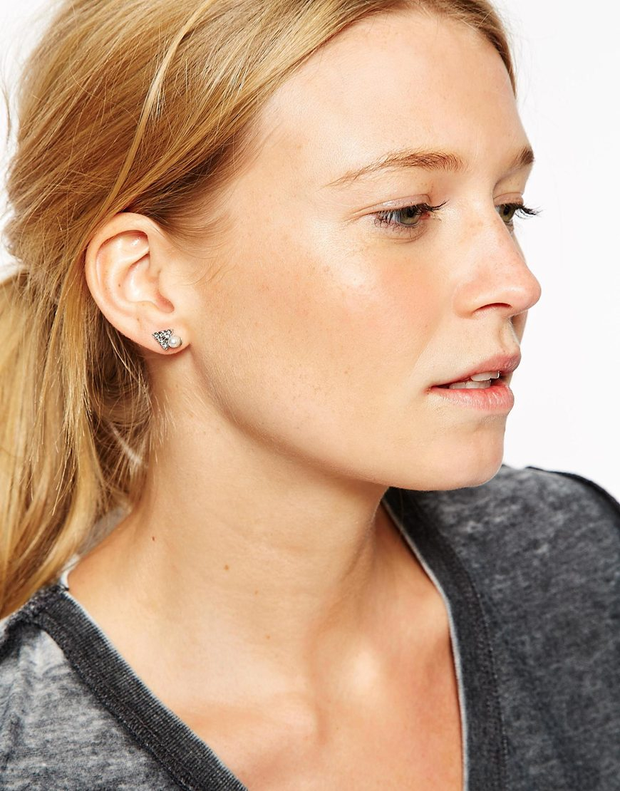 Asos Double Triangle Stud And Swing Earrings in Black | Lyst