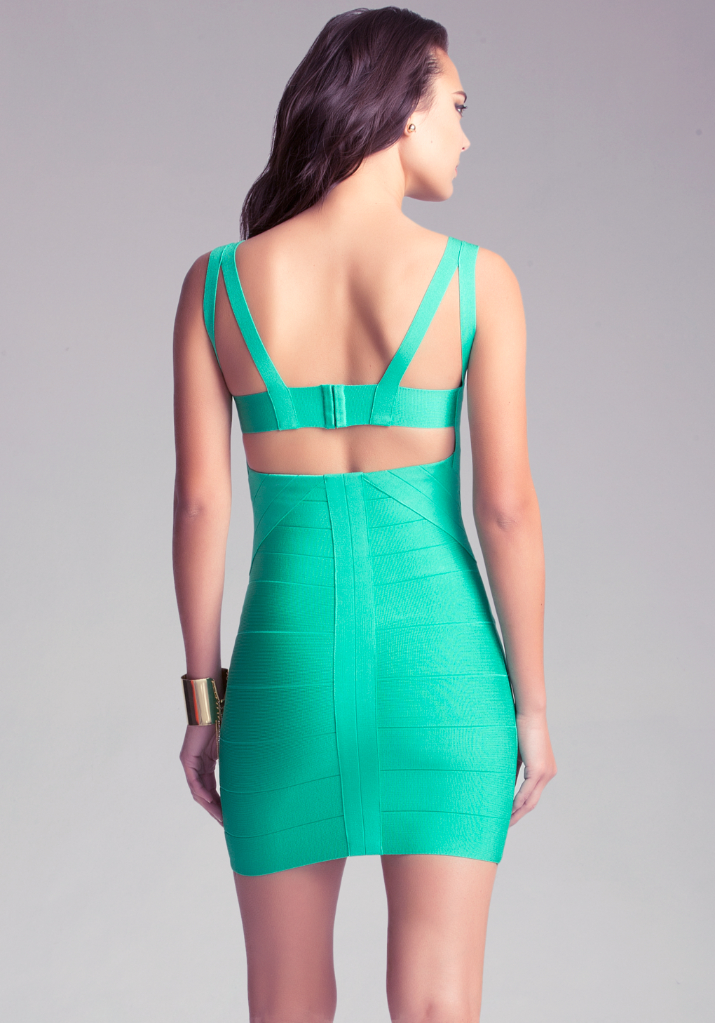 Bebe Strap Bandage Dress in Green - Lyst