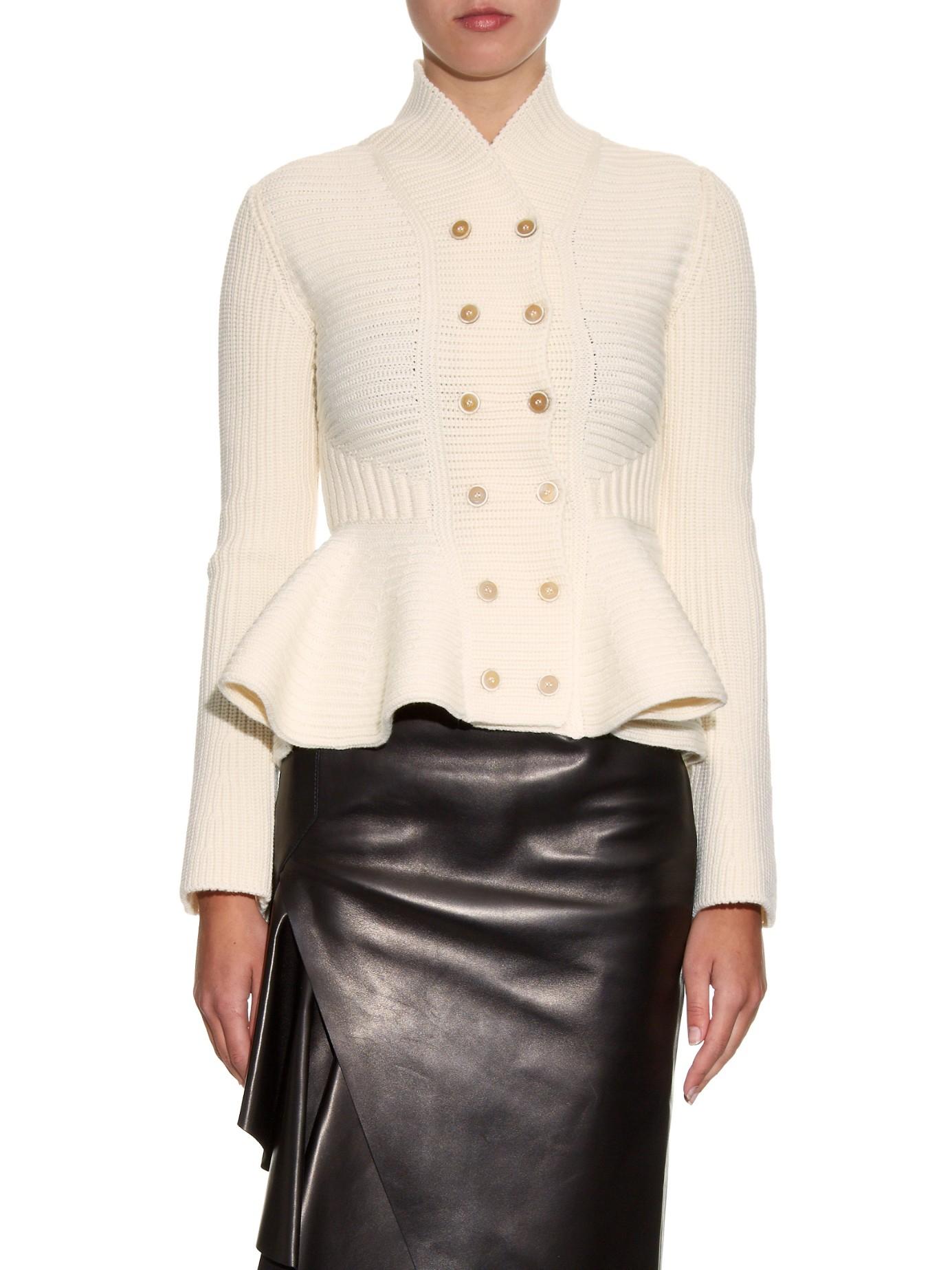 Lyst Alexander Mcqueen Peplum Knitted Wool Jacket In White