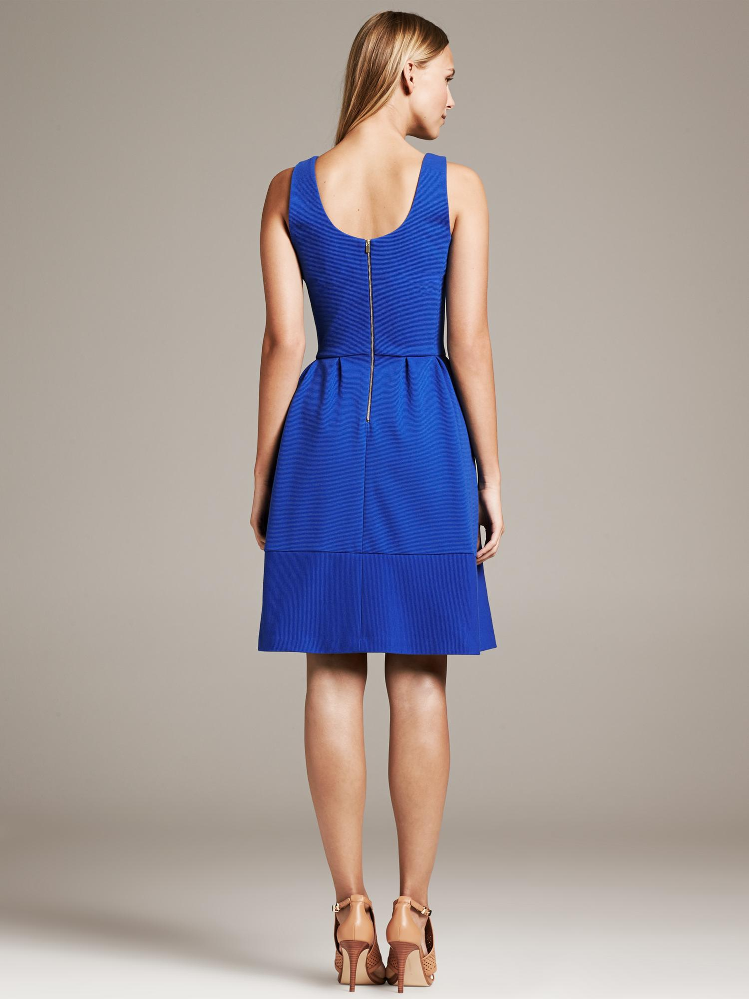 Banana Republic Textured Blue Fit And Flare Dress Deep