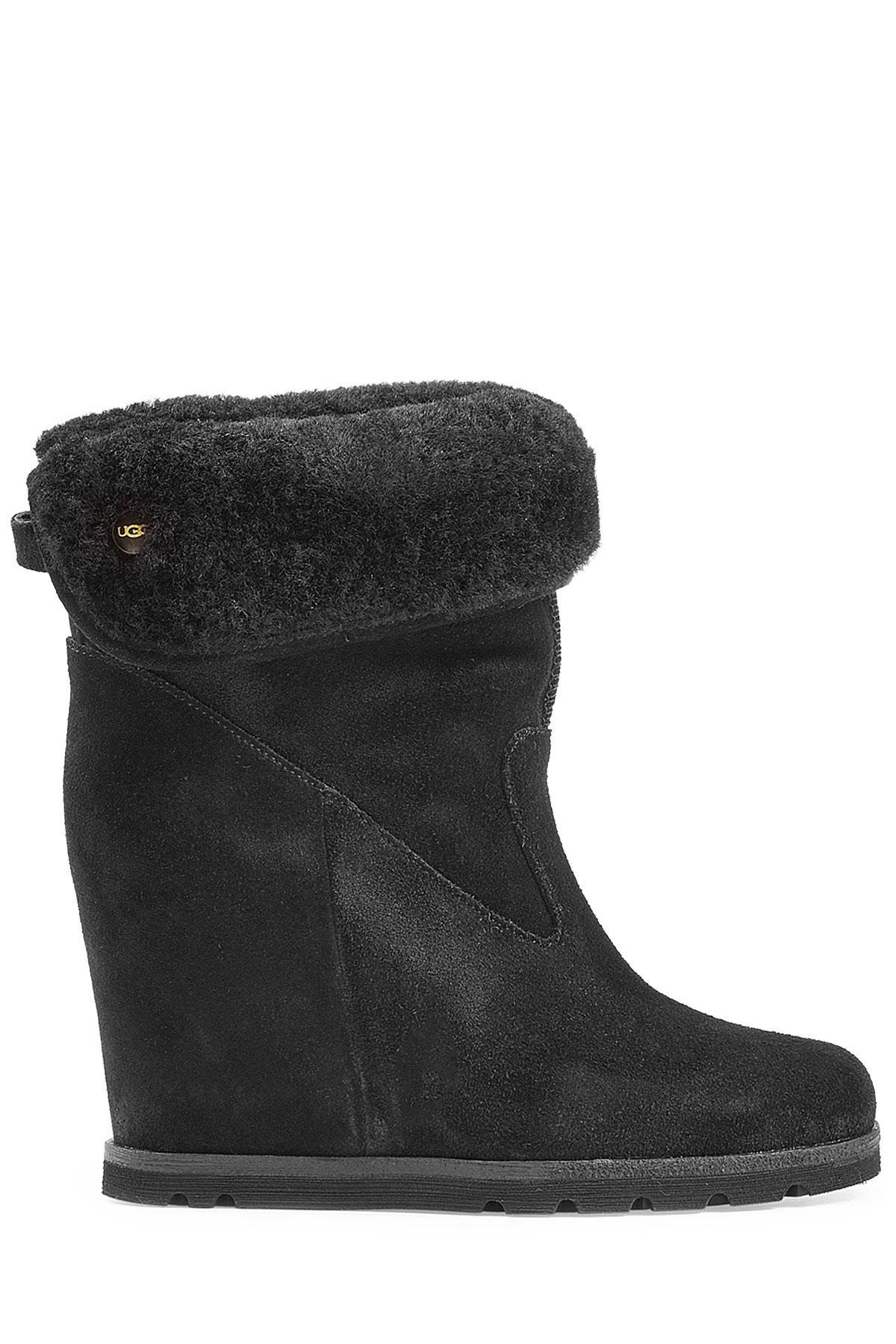 Ugg Kyra Concealed Wedge Suede Boots Black In Black Lyst