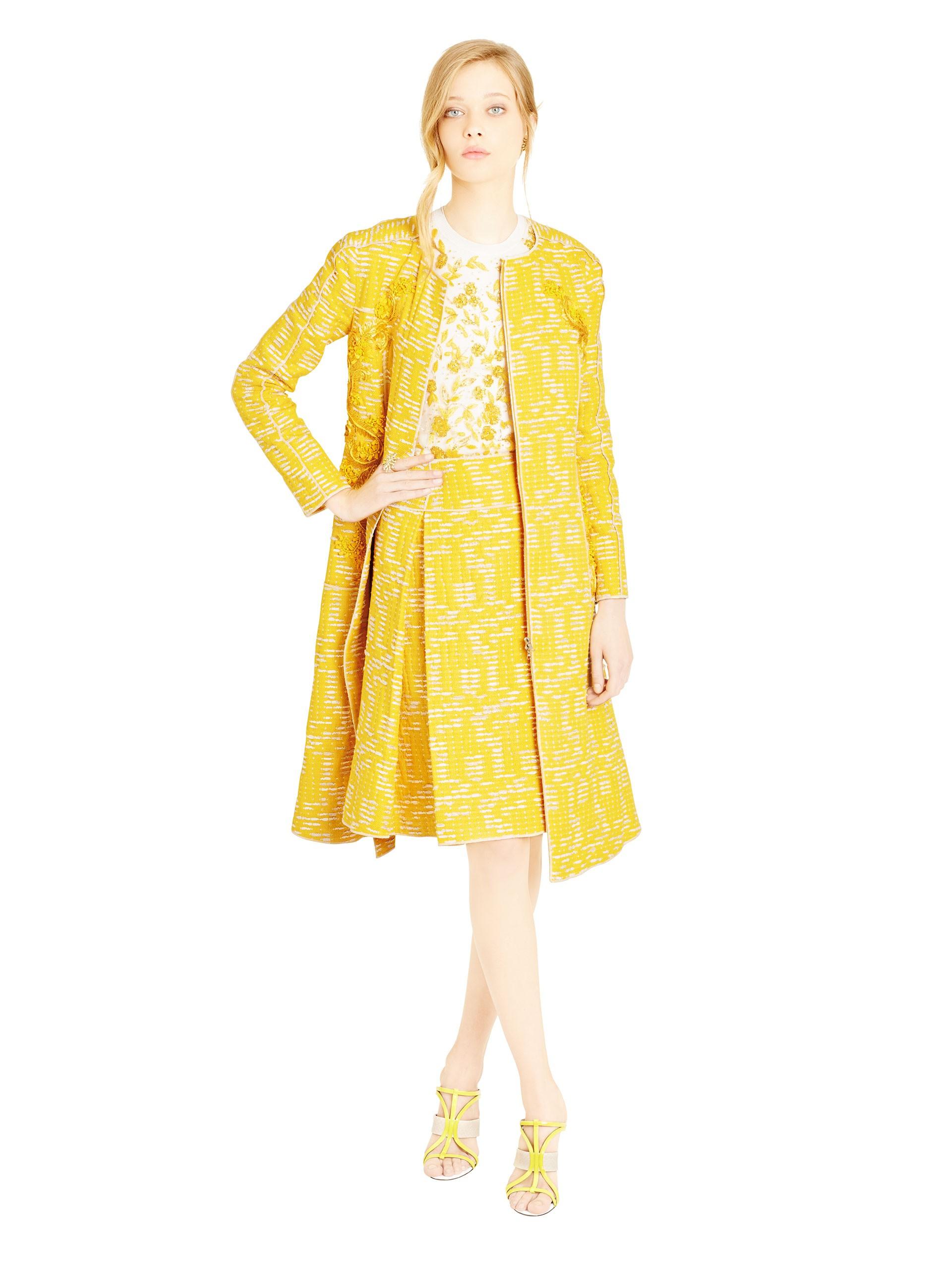 Oscar De La Renta Embellished Cotton Blend Tweed Coat In