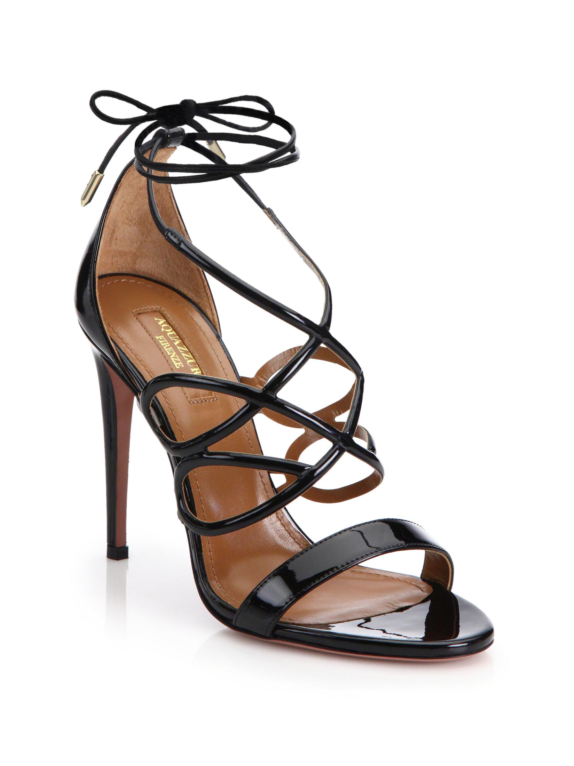 Lyst Aquazzura Gigi Patent Leather Sandals In Black