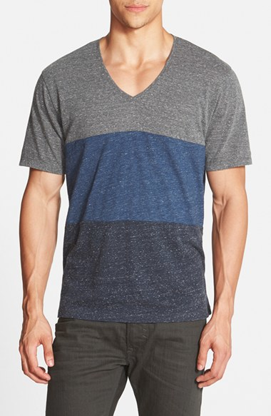 Lyst diesel 39 tossik 39 stripe v neck t shirt in blue for men for Mens diesel v neck t shirts