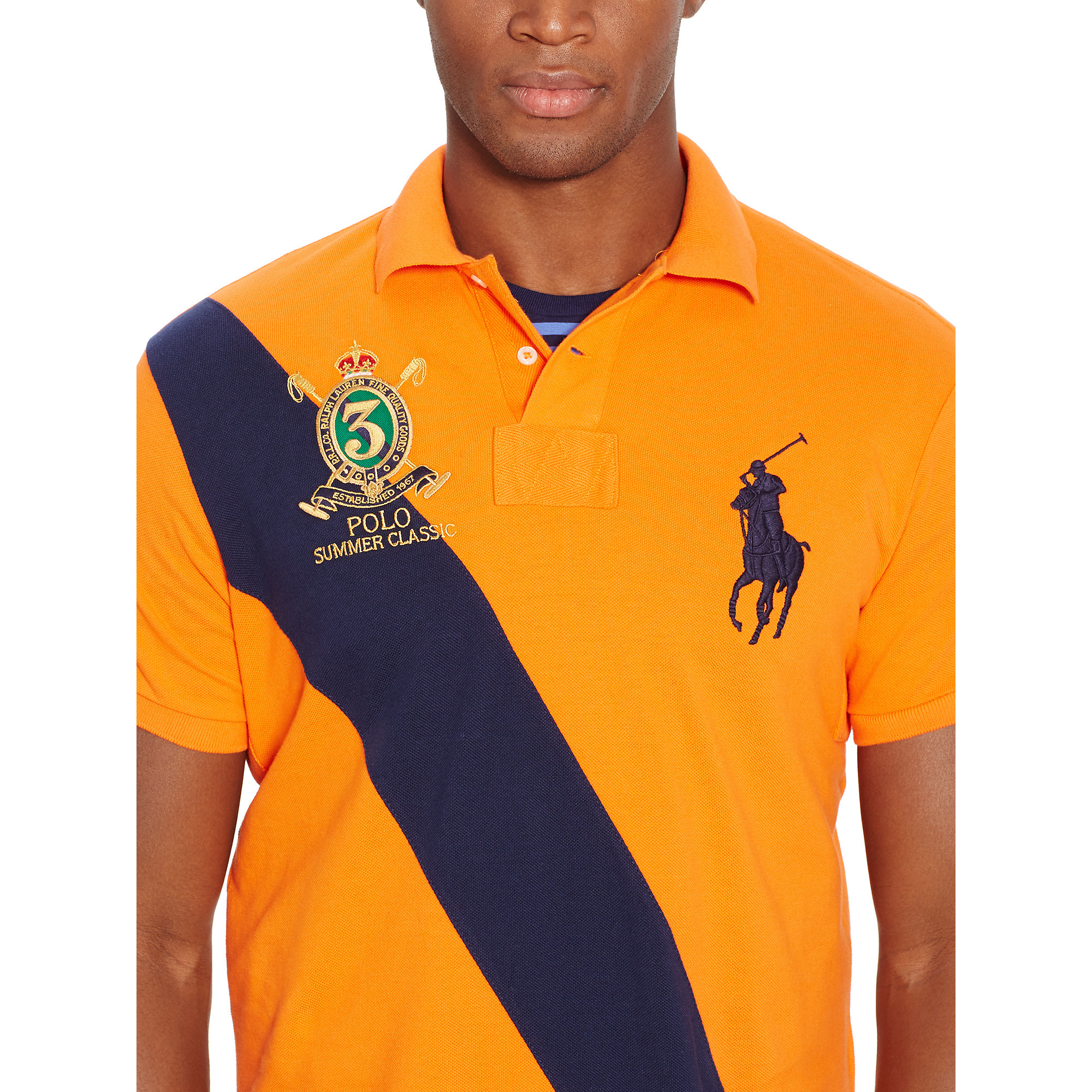 28427f5fd3e Lyst - Polo Ralph Lauren Custom-fit Banner Polo Shirt in Yellow for Men
