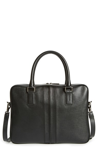 Tod's 'double Stripe' Textured Leather Briefcase in Black ...