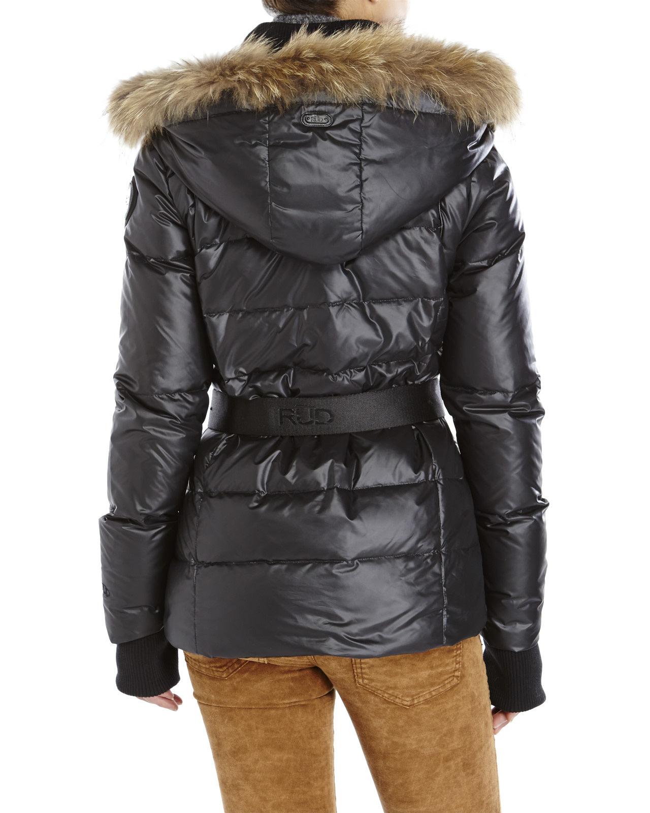 Rud styled by rudsak Real Fur Trim Belted Down Jacket in Black | Lyst
