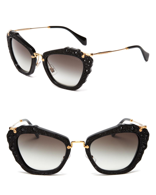Lyst Miu Miu Embellished Cat Eye Sunglasses In Black
