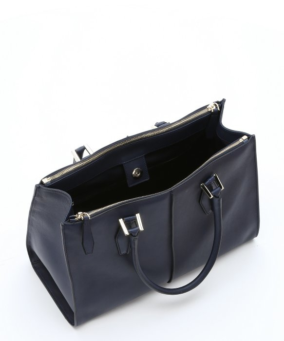 Tod's Navy Blue Leather 'd-cube' Structured Tote Bag in Blue | Lyst
