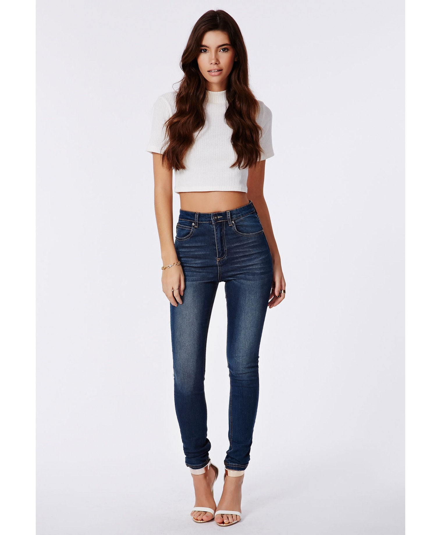 Missguided Edie High Waist Skinny Jeans In Dark Vintage Wash in ...