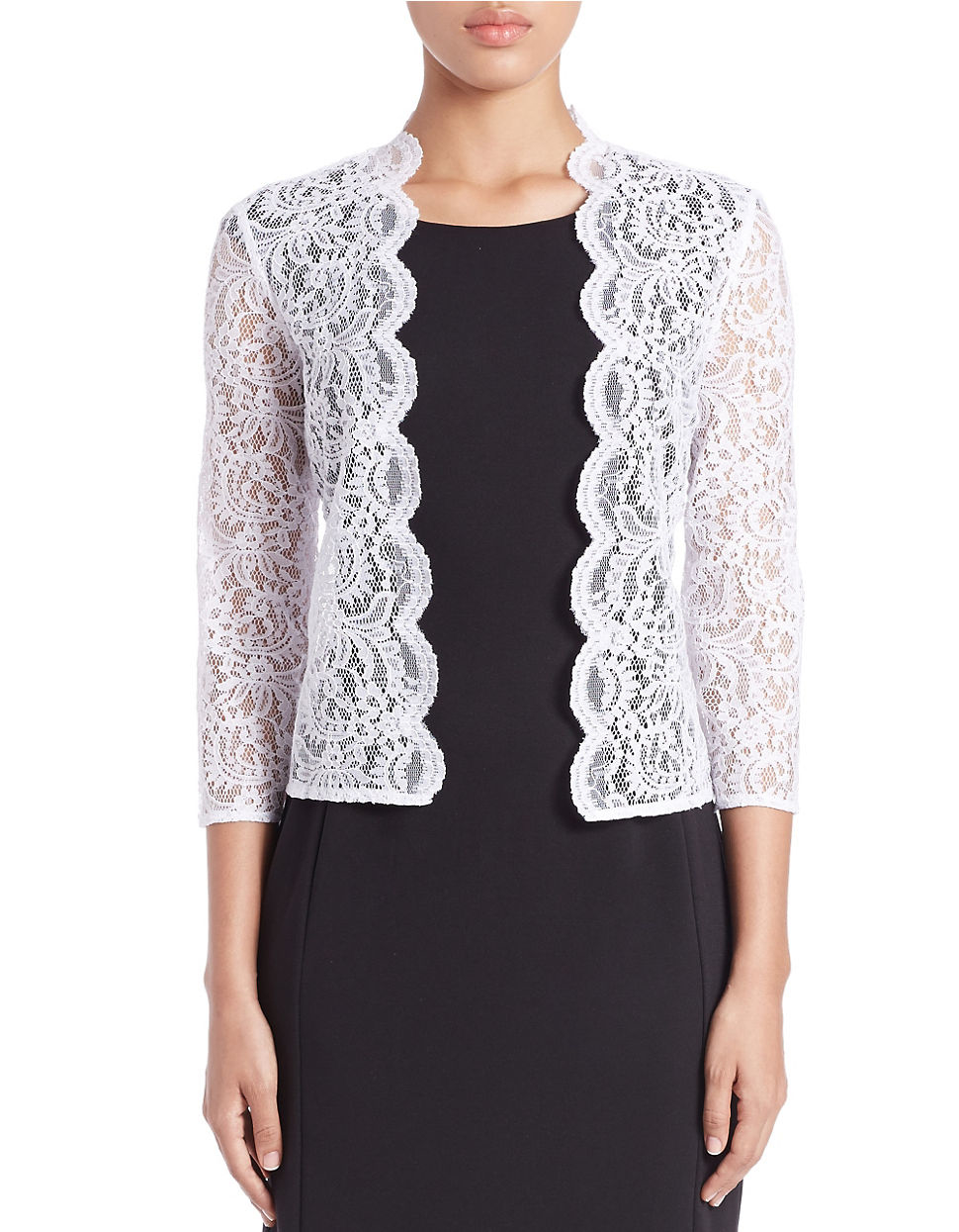 calvin klein lace cardigan in white lyst. Black Bedroom Furniture Sets. Home Design Ideas