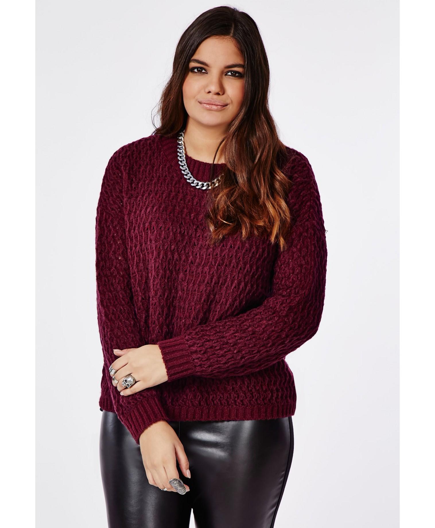 70b4f76fba1 Lyst - Missguided Plus Size Chunky Knit Sweater Oxblood in Purple