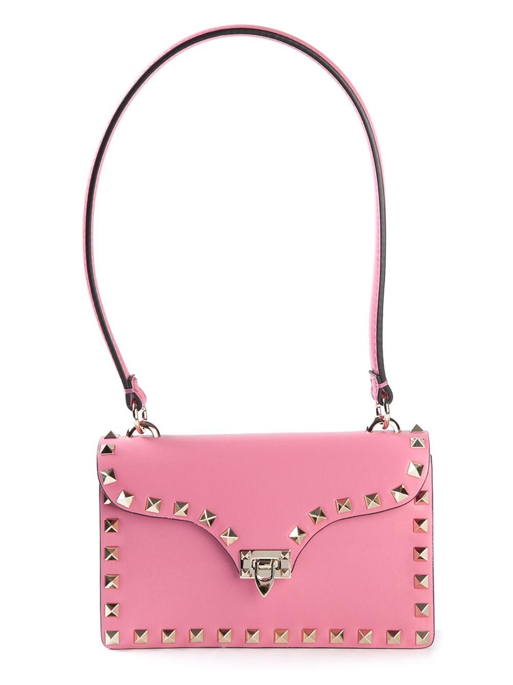 valentino rockstud shoulder bag in pink pink purple
