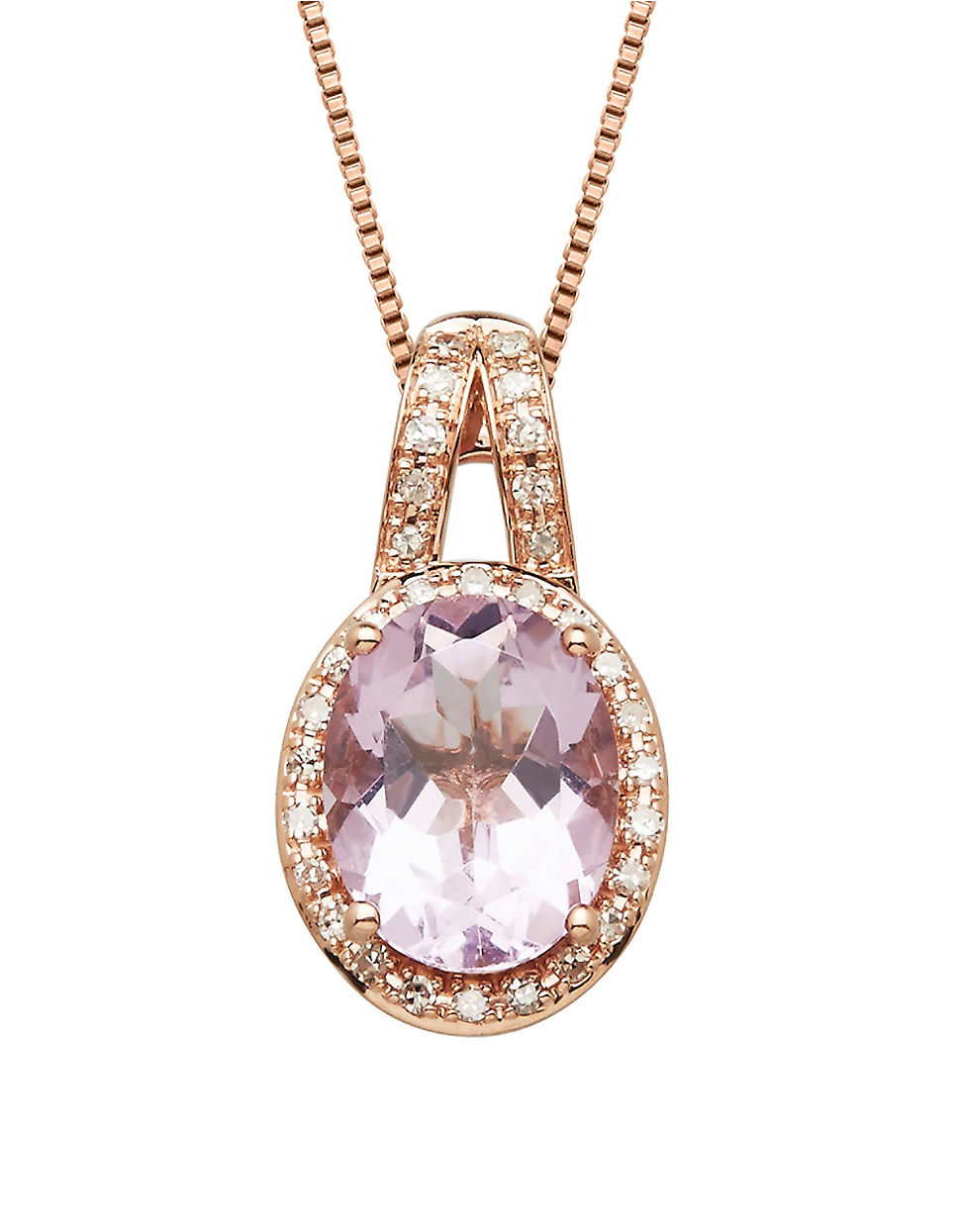 Lyst lord taylor pink amethyst diamond and 14k rose gold gallery aloadofball Gallery