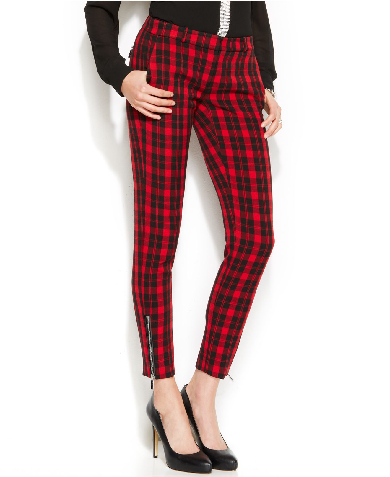 Michael kors Michael Skinny Ankle-zip Plaid Pants in Red | Lyst