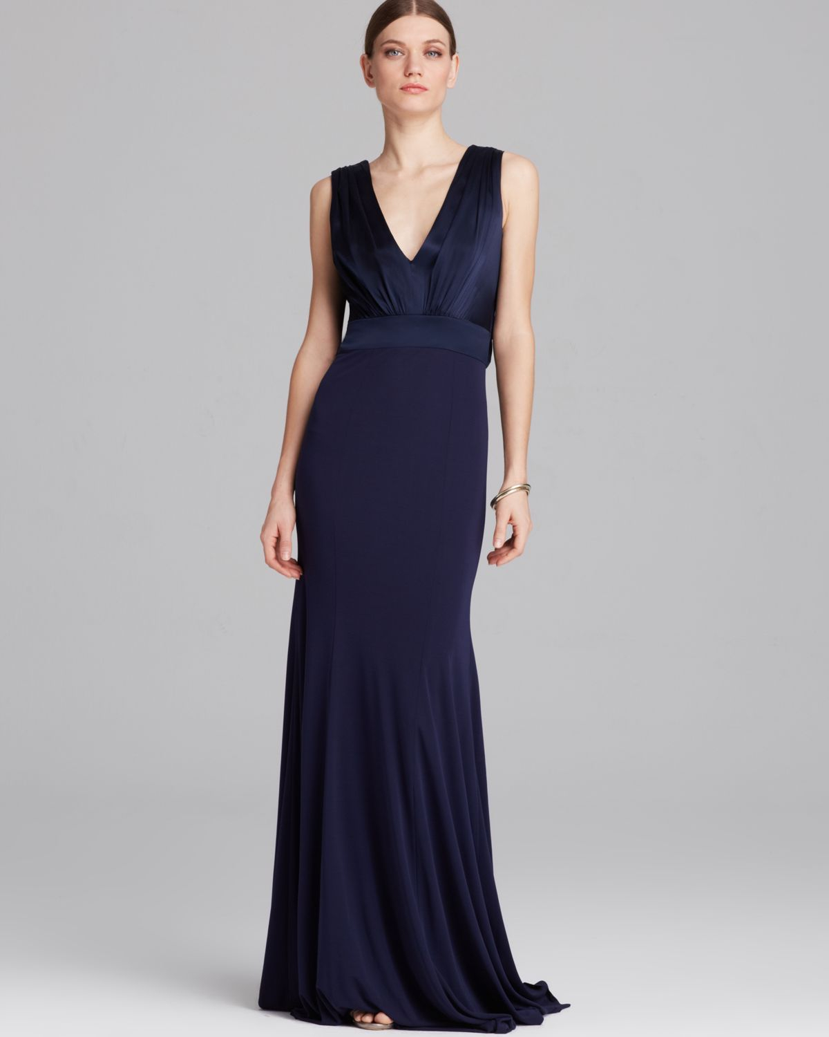 Lyst - Vera Wang Gown Sleeveless Deep V Shawl Back Jersey in Blue