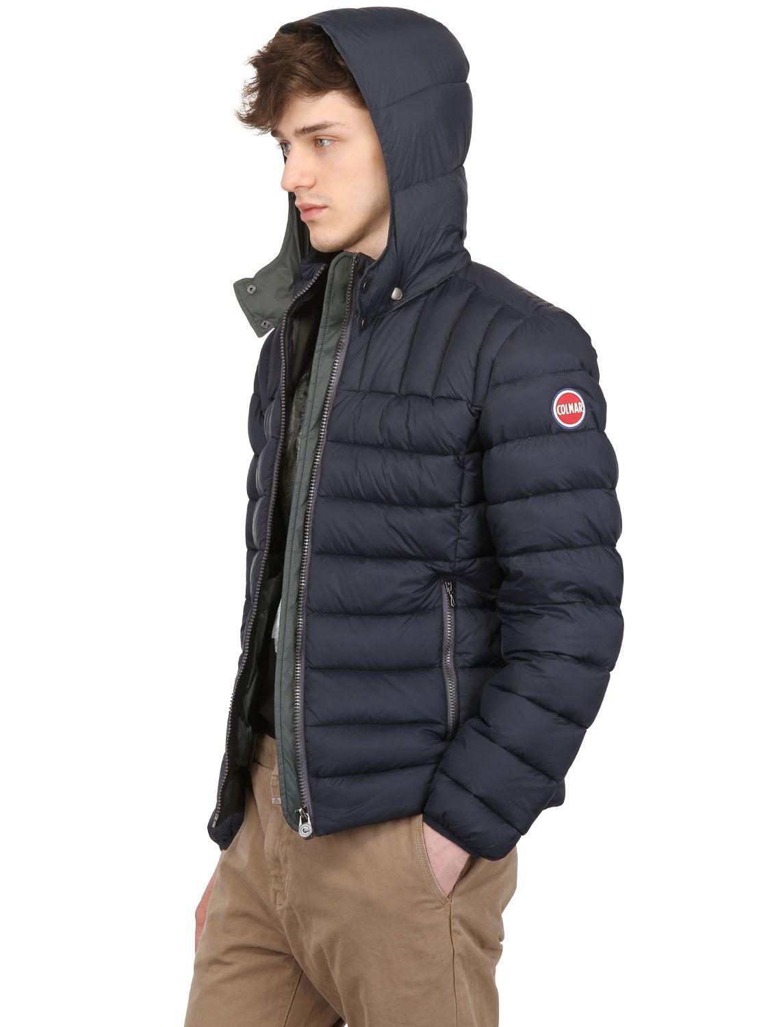 Lyst Colmar Nylon Hooded Down Jacket In Blue For Men