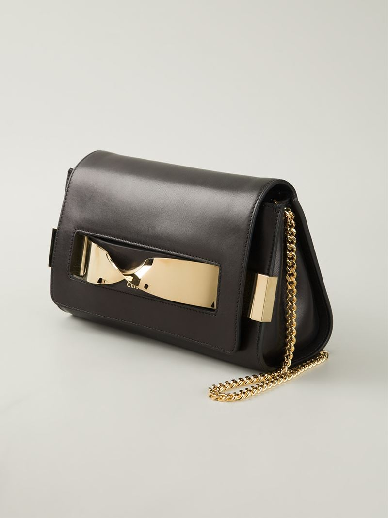Chloé Elle Leather Cross-Body Bag in Black