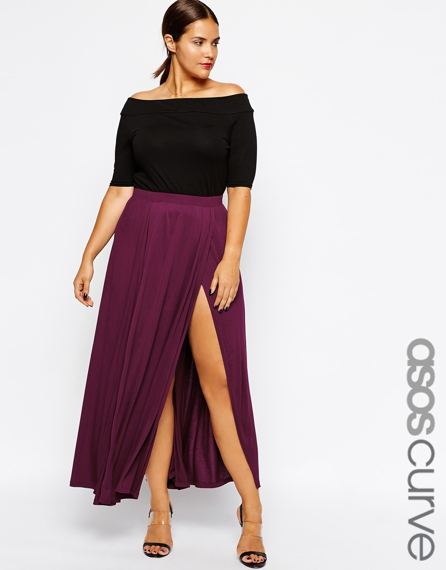 asos exclusive maxi skirt with split in purple lyst