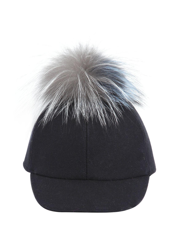 Lyst - Fendi Wool Felt Baseball Hat With Fur Pompom in Blue aaeedd3afa3
