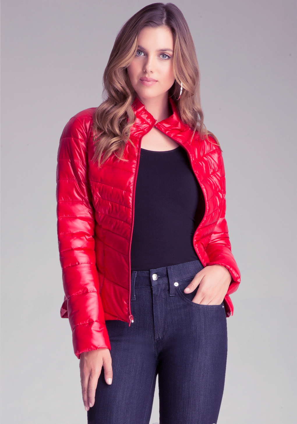 Bebe Packable Puffer Jacket In Red Lyst