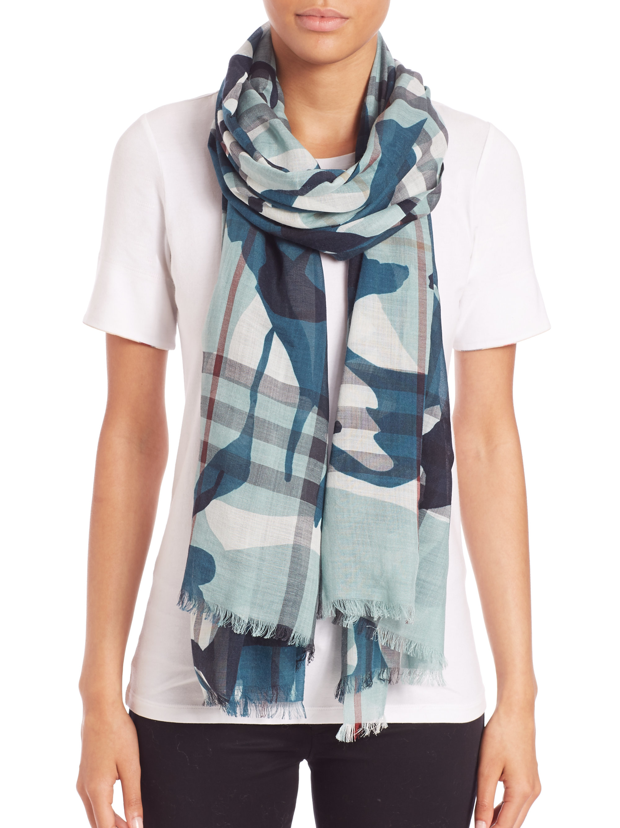 multi gauze purple normal scarf product print blue gallery franco lyst check accessories burberry painted ferrari in camo