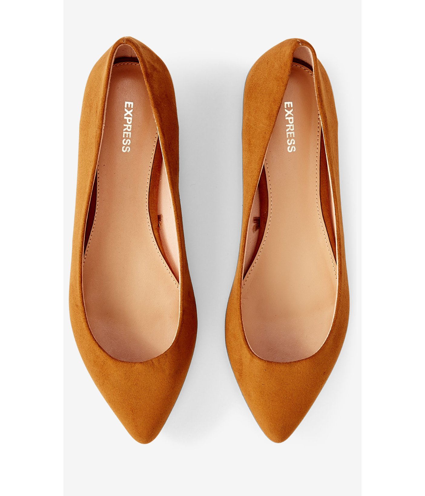 Express Cognac Faux Suede Pointed Toe