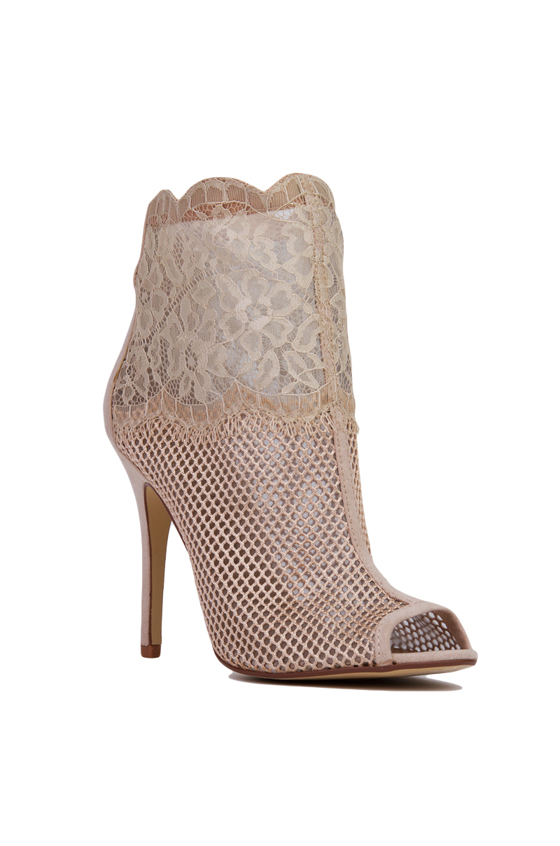 Chinese Laundry Jeopardy Mesh Lace Peep Toe Nude Booties